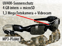 OctaCam Kamera-Sonnenbrille mit MP3-Player & 4GB Speicher(refurbished)